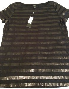 Talbots Blouse Sequins Stripes Petite Medium Christmas New Years Eve Party Top Black