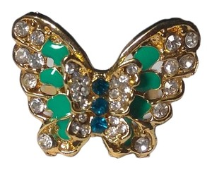 New Butterfly Adjustable Ring One Size Blue Green Gold J2209