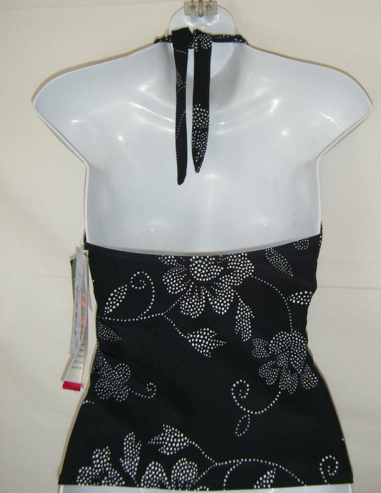 9c404be5a9b70 Other SWIMSUIT 10 32B NWT ROXANNE TANKINI TOP ONLY BLACK W WHITE HALTER  Image 2. 123