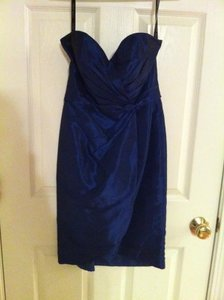 Alfred Angelo Royal Blue Polyester & Cotton Strapless Modern Bridesmaid/Mob Dress Size 2 (XS)