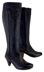 J SHOES Black Ostrich Braided Leather Boots