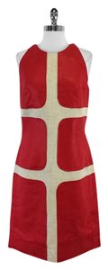 Longchamp short dress Red Beige Linen on Tradesy