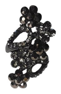 New Black Flower Adjustable Stretch Ring One Size Fits Most J2211