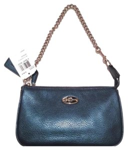 Coach Leather Leather Wristlet in Metallic Blue Denim