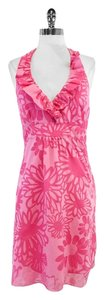 Lilly Pulitzer Pink Floral Print Halter Dress
