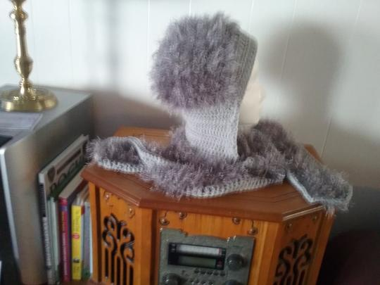 hand crocheted by me New, never used, hood with attacheted scarf Image 1