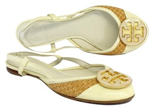 Tory Burch Cream Patent Leather Woven Flats