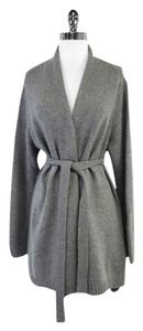 Max Mara Grey Knit Ribbed Open Cardigan