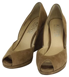 Michael Kors Tan Suede Peep Toe Wedges