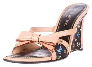 Louis Vuitton Lv Monogram Gold Hardware Studded Black, Multicolor Sandals