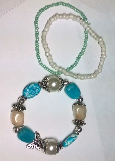 Other New 3 piece stretch Bracelet Set Turquoise White Silver Cute J342