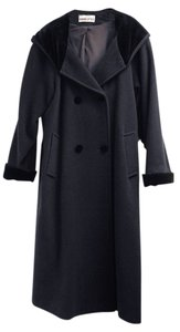 Leslie Fay Hood Cuffs Full Length Double Breasted Coat