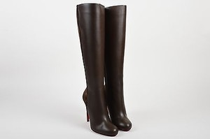 Christian Louboutin Leather Acheval 100 Tall Brown Boots