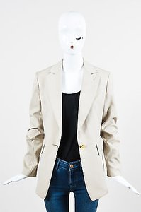 Saint Laurent Yves Saint Laurent Khaki Wool One Button Tailored Blazer Jacket