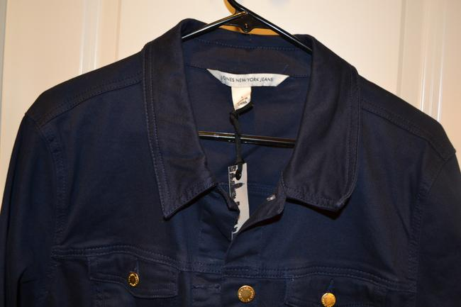 Jones New York Coat Light Weight Jean Designer Navy Indigo Jacket