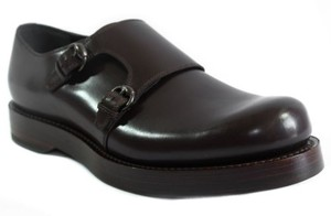 Gucci 358272 Mens Leather Monkstrap Shoes Dark Brown 9g10us