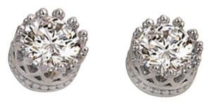 Crown Stud CZ Earrings Silver plated