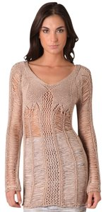 Torn by Ronny Kobo Crochet Knit Fitted Cotton V-neck Sweater