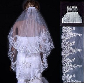 Gorgeous 2 Tier White Bridal Veil With Embroidery And Sparkles Free Comb
