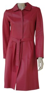 Tahari Leather Red Soft Trench Trench Coat