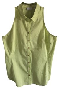 New York & Company Button Down Shirt Lime
