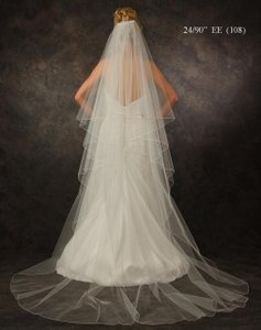 J.L. Johnson Bridals Diamond White Chapel Length Custom Made Two Layer Wedding Veil