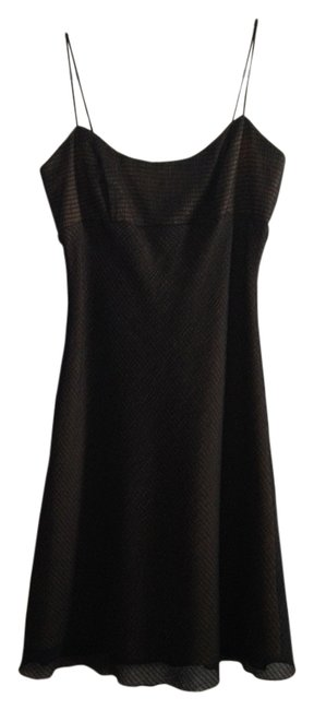 Item - Black with Yellow Lining Knee Length Cocktail Dress Size 8 (M)