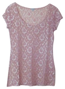 Charlotte Russe Lace Sheer Top Pink