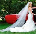 J.L. Johnson Bridals White Long Custom Made Chapel Length Waterfall Bridal Veil Image 0