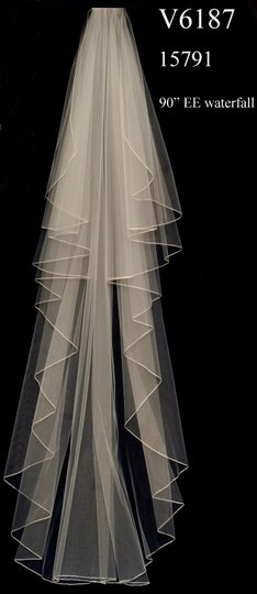 J.L. Johnson Bridals White Long Custom Made Chapel Length Waterfall Bridal Veil Image 1