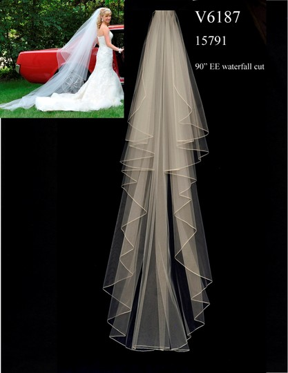 J.L. Johnson Bridals White Long Custom Made Chapel Length Waterfall Bridal Veil Image 2