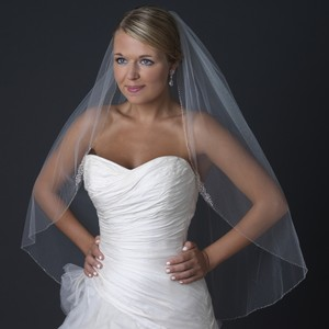 Elegance By Carbonneau Beaded White Fingertip Length Wedding Veil