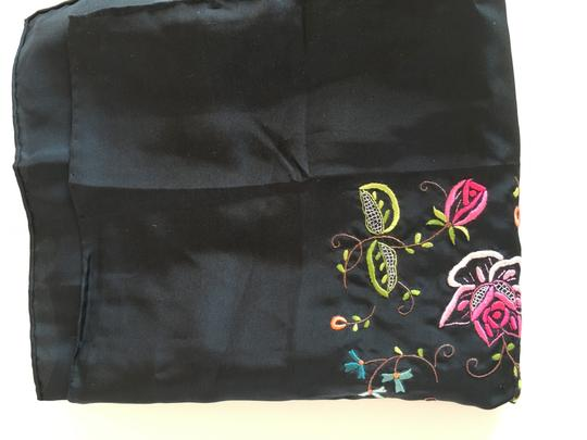 Other NWT----STILL FOLDED---100%SILK BLACK SCARF WITH EMBROIDERED FLOWERS Image 1