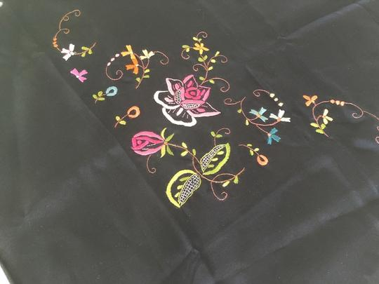 Other NWT----STILL FOLDED---100%SILK BLACK SCARF WITH EMBROIDERED FLOWERS Image 2