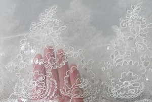 Cathedral Length Wedding Bridal Veil With Embroidery And Lots Sparkles