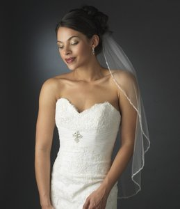 Elegance By Carbonneau White Elbow Length Beaded Bridal Veil