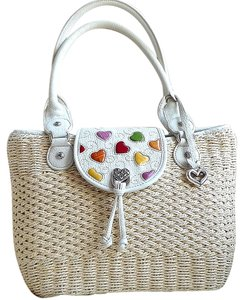 Brighton Straw Summer Leather Tote in Off White