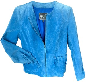 Carlos Falchi Machine Wash Cold Genuine Leather Light Blue Leather Jacket