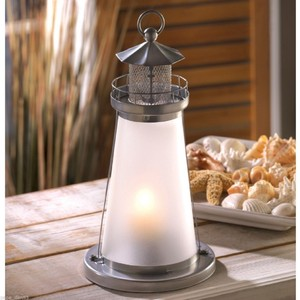 10- Nautical Theme Lighthouse Candle Lanterns W/ Frosted Glass ( Centerpiece