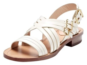 Pour La Victoire Alfie Leather Designer White Sandals