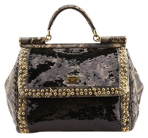 Dolce&Gabbana D&g Miss Sicily Snakeskin Sequin Flap Satchel in Black & Grey
