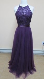 Mori Lee Eggplant Tulle with Embroidery and Beading with Satin Waistband 136 Modern Bridesmaid/Mob Dress Size 14 (L)