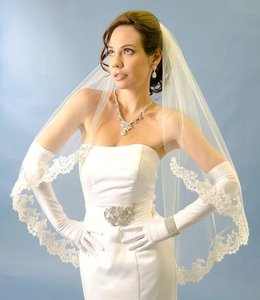 Ansonia Bridal White Fingertip Length Wedding Veil With Lace Edge