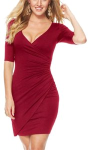 Alloy Apparel Red Wrap Ruched V-neck Evening Dress