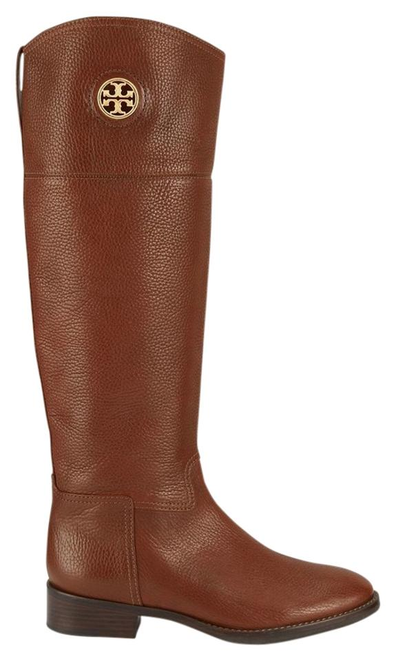 Tory Burch Almond Tan Brown Leather Knee Riding High Tall Logo Junction Riding Knee Boots/Booties 2bf907