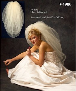 J.L. Johnson Bridals Double Bubble Wedding Veil V4900 In Diamond White