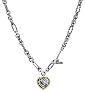 David Yurman David Yurman Sterling Silver & 18k Yellow Gold Heart Charm Necklace