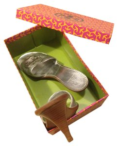 Tory Burch Tb Summer Kitten Heel Monogram Silver Sandals