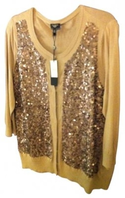 Preload https://img-static.tradesy.com/item/129981/talbots-light-browndark-tan-with-sequins-sizesequinsparty-sweater-cardigan-size-22-plus-2x-0-0-650-650.jpg