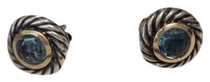 David Yurman David Yurman Cable Classic earings with gold and Blue Topaz
